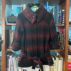 Red and black 3/4 sleeve cowl neck coat